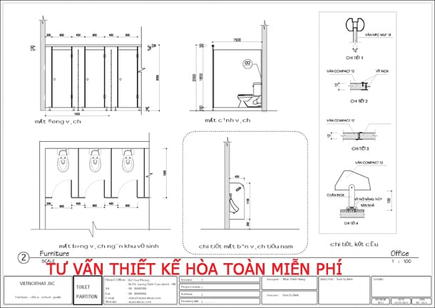 Thiết kế vách ngăn vệ sinh compact HPL theo tiêu chuẩn
