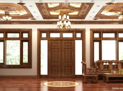 trần gỗ tam cấp ấn tượng